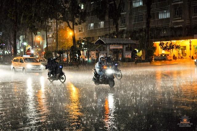 Motorbike in the rain